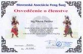 Osvedčenie o členstve v Slovenskej Asociácii Feng Šuej